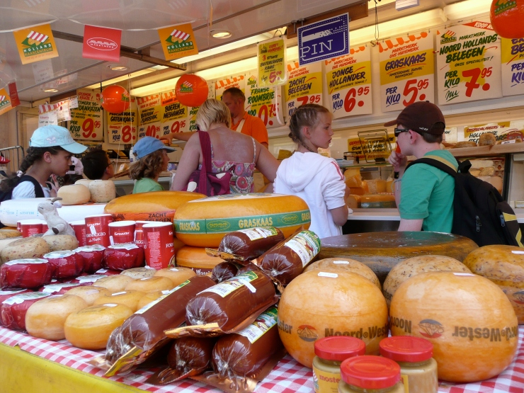 In addition to bread, the Dutch export excellent cheese. Delft, the Netherlands, 2010