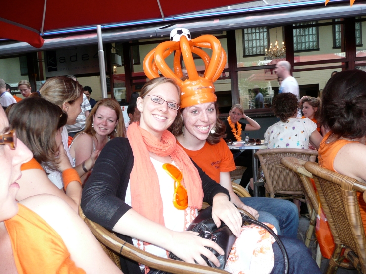 """Not exactly fashion-conscious, supporting the Dutch """"football"""" team in the World Cup. Rotterdam, 2010"""