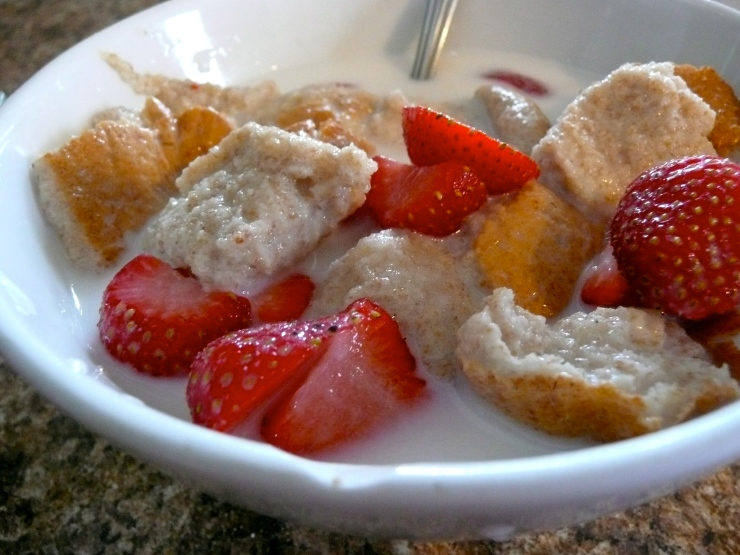 Strawberries, sugar, bread, and milk. June 2012.