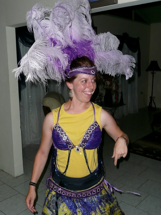Playing with a mas costume. August 2010.