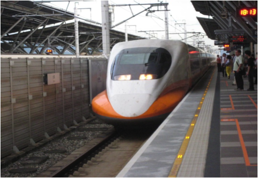 Taiwan's high speed train travels 200 miles per hour between the south and the north.