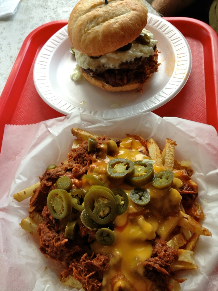 All About burger and Porky Pig fries, Whistle Stop, August 2013