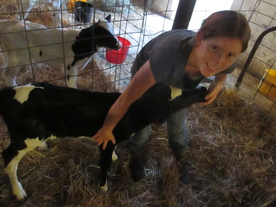 My sister Amy and her heifer calf, Spearmint (2013)